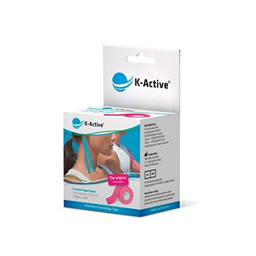 K-Active Kinesiologie Tape Classic PINK, wasserabweisend und hypoallergen, 50 mm x 5 m, 1er Box