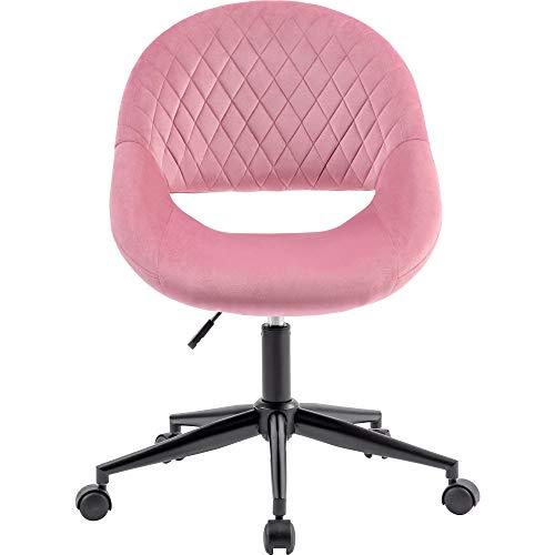 Wealthgirl - Sedia da ufficio in velluto, senza braccioli, ergonomica, senza braccioli, in tessuto, sedia girevole per casa, ufficio, camera da letto, altezza regolabile