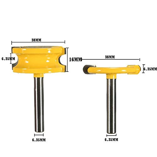 Fantastic Deal! LCHAO Planer Drill 3 T-Tenon Engagement Tooth Cutter, 1/2 1/43 T-Tenon Engagement Gear Teeth Tenon Cutter Side Seal Bars, Floor Knife, Knife Puzzle, Wood Milling, Engraving Knife Yellow Paint