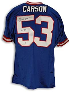 Autographed Harry Carson New York Giants Blue Throwback Jersey inscribed