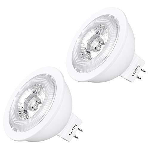 Luxrite MR16 LED Bulb GU5.3, 50W Equivalent, 12V, 2700K Warm White Dimmable, 500 Lumens, 7W LED Spotlight Bulb, 40 Degree, Energy Star & Damp Rated - Home, Landscape, and Track Lighting (2 Pack)