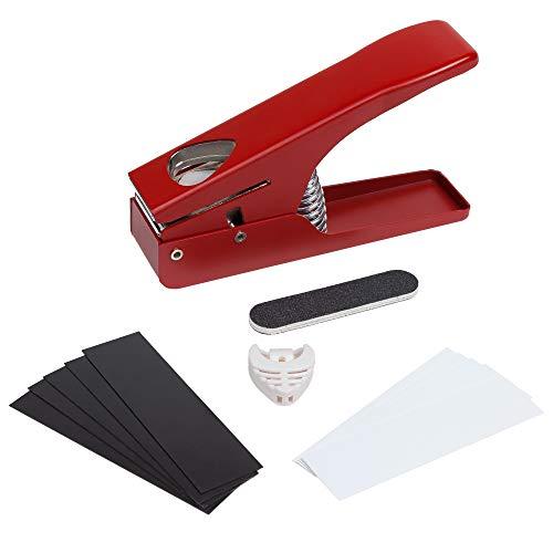 Ezi - Pick Gitarren-Picks - Plektrumstanz-Kit für Akustik E-Bass Fender und Ukulele - Lieferung mit 10 Kunststoffplatten Pickhalter und Feile