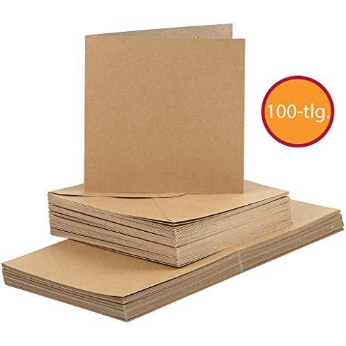 Kartenset, 50 Doppelkarten mit 50 Umschlägen, Kraftpapier, Kartengröße 15x15 cm, Umschlaggröße 16x16 cm, Natur. SPARPACK