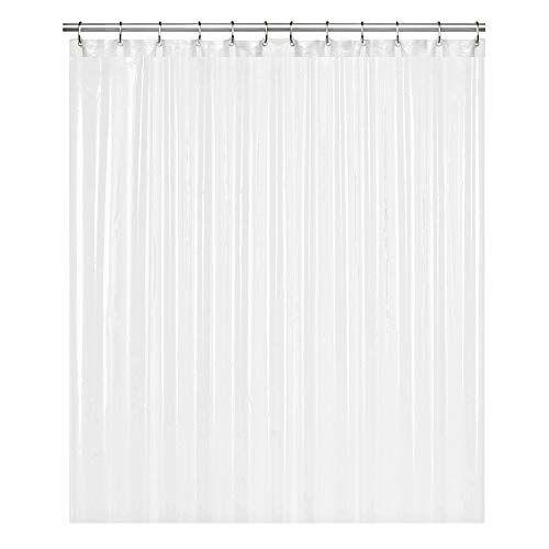 LiBa PEVA 8G Bathroom Shower Curtain Liner, 72' W x 72' H, White, 8G Heavy Duty Waterproof Shower Curtain Liner Anti-Microbial Mildew Resistant