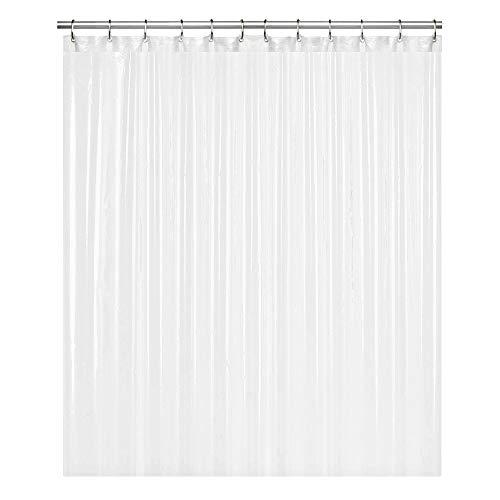 "LiBa PEVA 8G Bathroom Shower Curtain Liner, 72"" W x 72"" H, White, 8G Heavy Duty Waterproof Shower Curtain Liner Anti-Microbial Mildew Resistant"
