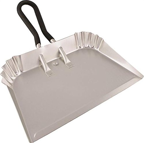 "Edward Tools Extra Large Industrial Aluminum DustPan 17"" - Lightweight - half the weight of steel dust pans with equal strength - For large cleanups - Rubber Loop handle for comfort/hanging (1)"