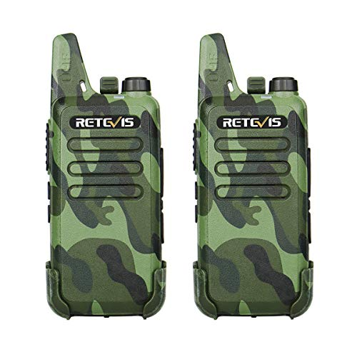 Retevis RT22 Walkie Talkie Funkgerät 16 Kanäle CTCSS/DCS VOX Wiederaufladbar Funkgeräte Set USB Ladekabel (1 Paar, Tarnfarbe)