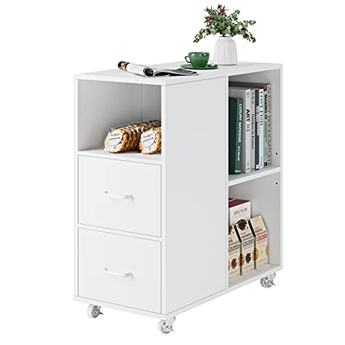 End Table with Drawer, Mobile Nightstand with Adjustable Shelf and Wheels, Modern Side Table, File Cabinet Storage Table for Home Office, Easy Assembly, White