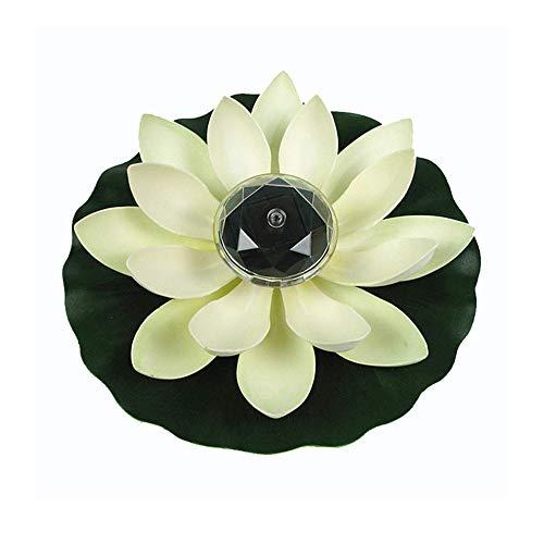 ZN Solar Schwimmende Lichter Wasserdicht Lotus Lichter Künstliche Schwimmteichpflanzen Gefälschte Lotusblüte für Garten im Freien Teich Nachtlichter Pool Dekoration (Weiß)