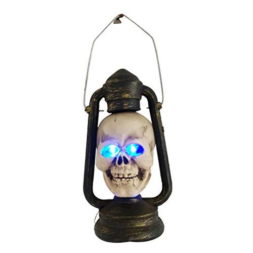 Uonlytech Cabeza de Esqueleto Lámpara de Noche Colgante Lámpara de Linterna de Terror a Prueba de Agua Luz de Mano Decorativa de Halloween
