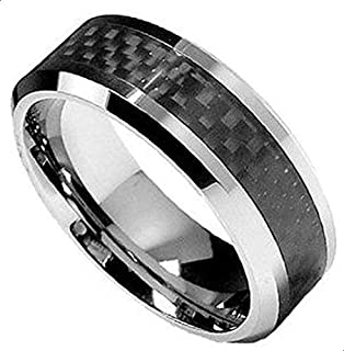 Tungsten Carbide engagement ring with black carbon fiber for Men
