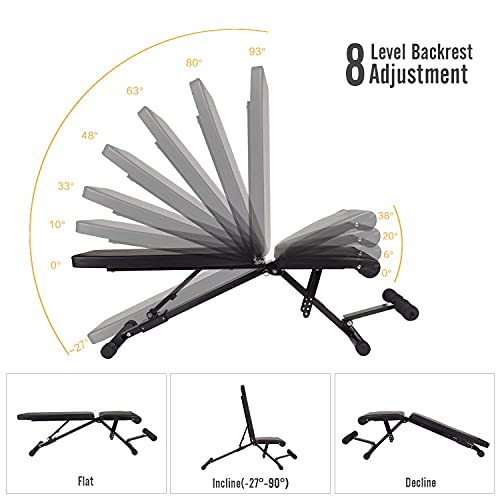 SOLIDEE Adjustable Weight Bench Exercise Bench Strength Training Incline Flat Decline Full body Workout Utility Sit up Bench with Leg Extension Resistance Bands Foldable For Home Gym Fitness