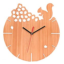 FULLOSUN Pine Wood Wall Clock - Quartz & Solid Handmade Rustic, Silent Non-Ticking Noiseless, Battery Operated for Living Room, Kids Bedroom,Kitchen, Office, School - 10 Inch (Squirrel)