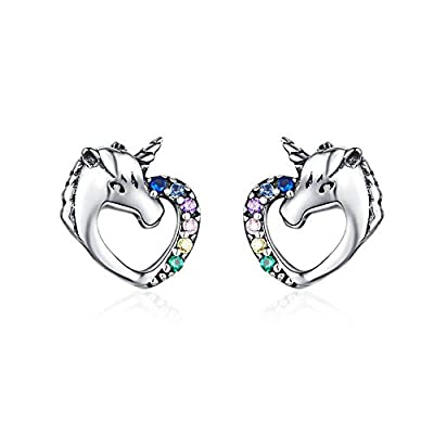 VOROCO Sloth Stud Earrings 925 Sterling Silver Unicorn Pet Puppy Paw Angel Ear Studs Hypoallergenic Tiny Earring for Women Girls with Gift Box (Heart unicorn)