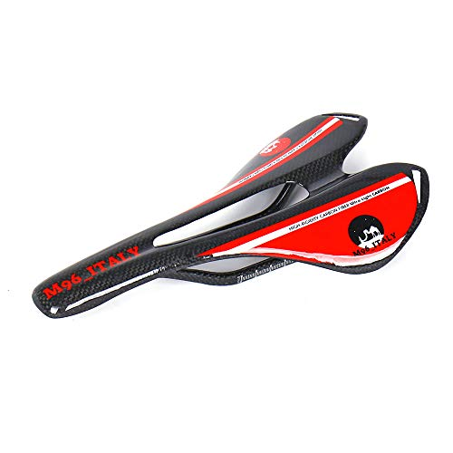 MH96_Italy Sillín de Bicicleta de Fibra de Carbono 3K, Asiento de Bicicleta de Carreras y MTB antipróstata, Super Ligero, 100 g +/-, Rojo