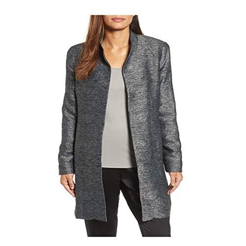 Eileen Fisher Charcoal Silk Blend Jacquard Hi Collar Long Jacket L