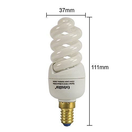 5X Energiesparlampen Spirale E14 ExtraStar Leuchtmittel Sparlampe Warmweiss 3000K (11W FE635)