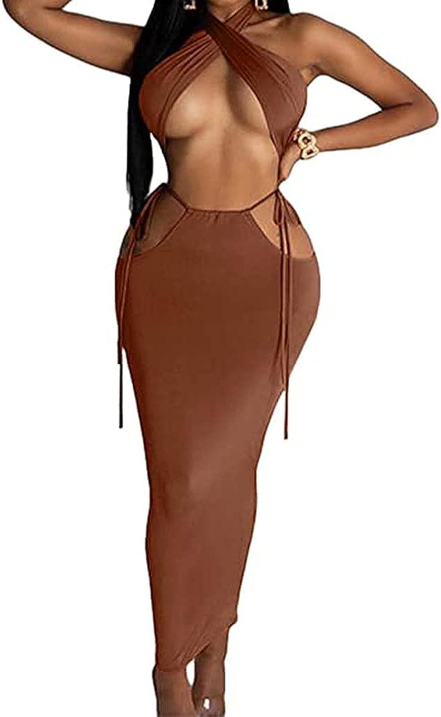 Two Piece Outfits for Women Sexy Summer Halter Neck Crop Top High Waisted Skirt Set Club Dress