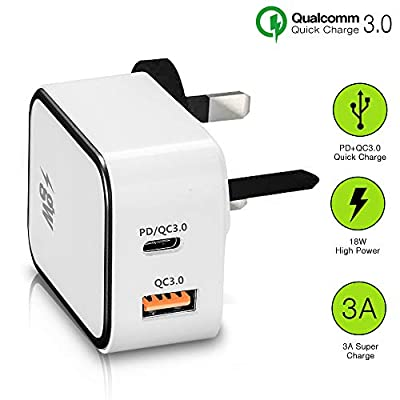 gw-Power PD Fast Wall Charger. 18W Dual USB (PD+QC3.0) - USB C & USB A - Compact ?Plug Design for Home, Work & ?Travel
