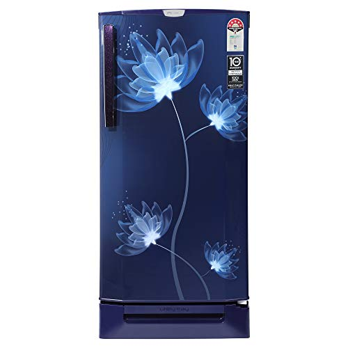 Godrej 190 L 5 Star Inverter Direct-Cool Single Door Refrigerator (RD 1905 PTDI 53 GL BL, Glass Blue, Base stand with drawer, Additional 1 Year Free Extended Warranty)