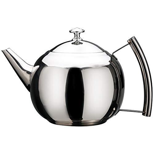 Edelstahl-Teekanne, Easy Pour-Teekanne mit herausnehmbarem Filter, V-förmigem Ausguss, Deckel und Verbrühschutz-Seitengriff für das Büro zu Hause