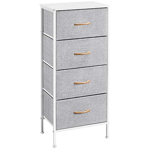 Yaheetech Chest of Drawers Storage Drawers Tower Bedroom Storage Drawers Organizer Cabinet Unit with 4 Drawers, Simple Non-Woven Fabric Drawers for Hallway Living Room Bedroom, 45x30x98cm