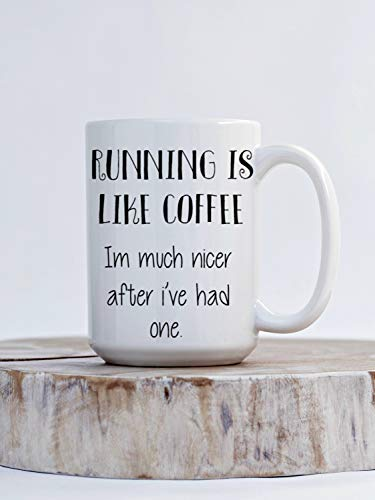 Running is Like Coffee im Much Nicer After I Have one Taza de café divertida para corredores, idea de regalo para corredores Maratón idea de regalo