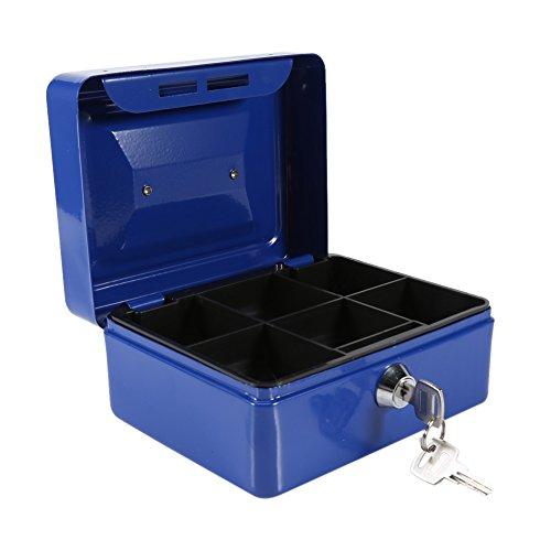 Caja Fuerte portátil Cajas de caudales Caja de Dinero pequeña con Cerradura de Llave, Caja de Seguridad portátil de Almacenamiento de Monedas de Metal de Doble Capa(Azul)