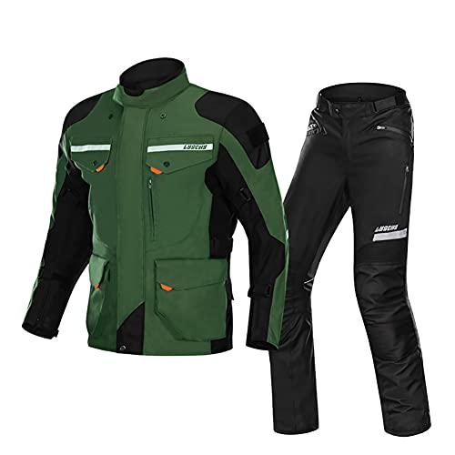 ZDSKSH Juego de moto moto chaqueta y pantalones para hombre CE Armadura textil Cordura 2 piezas traje 100% impermeable