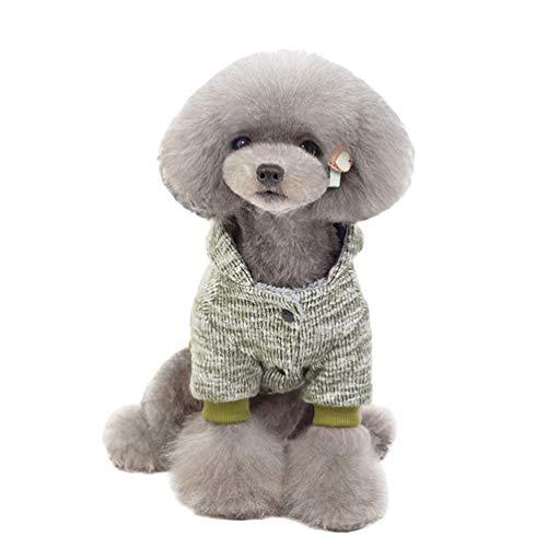 YOUJIAA Haustier Gedruckt Strickmantel Winter Warm Atmungsaktiv Hund Katze Kapuzenpullover Outwear mit Knöpfen (Grün, CN M)