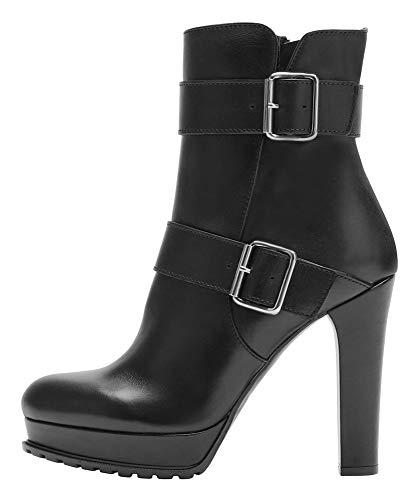 Poi Lei Damen-Schuhe High Heel Stiefelette Noemi Echtleder Glattleder Stiefeletten Blockabsatz - Handgefertigt in Europa