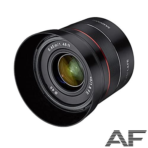 Samyang AF 45 mm F1.8 Sony FE pełny formatowy obiektyw do lustrzanych kamer Sony Alpha System (FE i E-bagnet) z pełnym formatem i czujnikiem APS-C, gwint filtrujący 49 mm, mały i premium, 22803