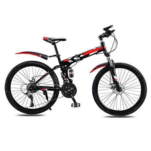 TXTC Klappfahrrad Mountainbike for Männer Und Frauen Erwachsene Variable Speed Doppel Stoßdämpfer Student Ultra Light Tragbare Straßen-Fahrrad (21/24/27 Speed), 24/26-Zoll-Rad