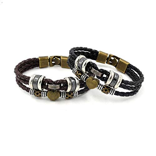 ABWEY Bracciale in cordino di cuoio con perline retrò, gioielli a mano da uomo intrecciati in pelle PU, gioielli per studenti, di coppia-Due set