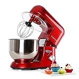 Klarstein Bella Rossa - Robot de cocina, Batidora, Amasadora, 1200 W, 5,2 litros, 1,6 PS, Batido planetario, 6 niveles de velocidad, Recipiente de acero inoxidable, Rojo