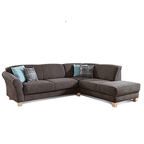 CAVADORE Ecksofa Gootlaand mit Ottomane rechts / Große Couch im Landhausstil / Mit Federkern / 257 x 84 x 212 / Dunkelgrau