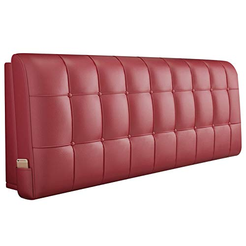 JINGMAI Cojín de Cabecera Cama, Suave Cómodo Cuña Cama Respaldo, Suave PU Almohadilla de Cintura, Diseño de Bolsillos Soporte Lumbar Personalizable (Color : A-Red, Size : 200x60x6cm)