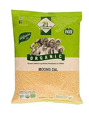Organic Moong Dal - USDA Certified Organic - European Union Certified Organic - Pesticides Free - Adulteration Free - Sodium Free - 4 Lbs - 24 Mantra Organic