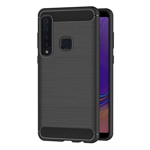 AICEK Compatible Samsung Galaxy A9 2018 Hülle, Schwarz Silikon Handyhülle für Samsung A9 2018 Schutzhülle Karbon Optik Soft Hülle (6,3 Zoll)