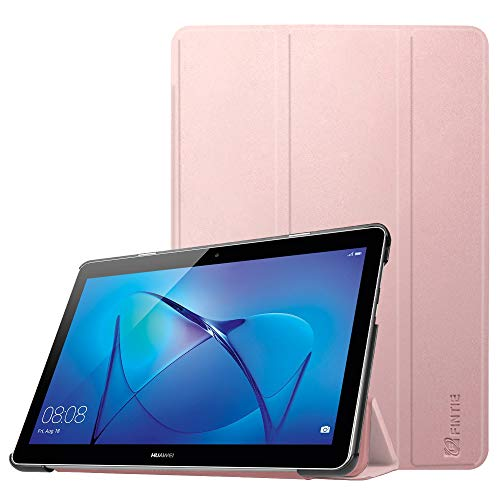 Huawei Mediapad T3 10 Hülle Case - Ultra Dünn Superleicht Flip Schutzhülle mit Zwei Einstellbarem Standfunktion für Huawei MediaPad T3 (9,6 Zoll) 24,3 cm Tablet-PC, Roségold
