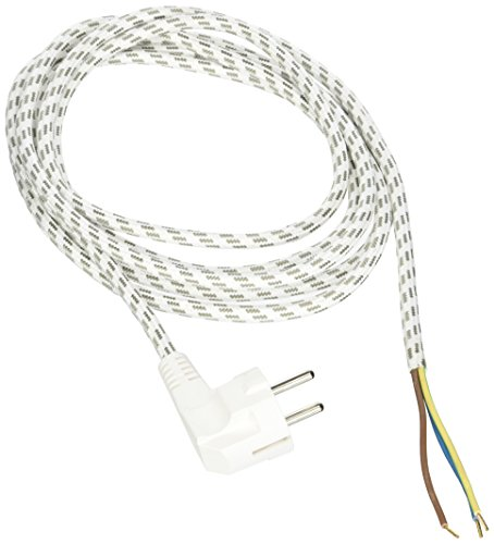 Kopp 140803091 Bügeleisen-Leitung, 3m, weiß/schwarz