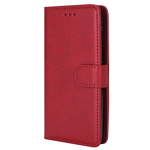 Bear Village® Hülle für Samsung Galaxy S5, Flip Leder Handyhülle Tasche mit Kartensfach, TPU Innere Ledertasche, 360 Grad Voll Schutz, Rot