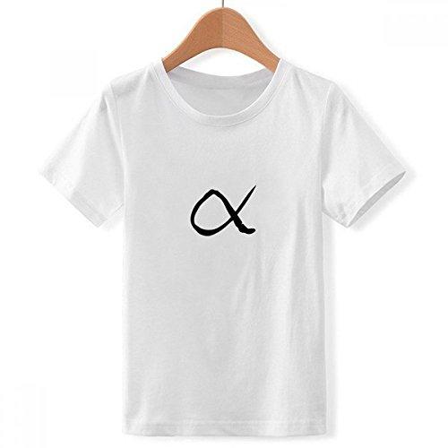 DIYthinker Alfabeto Griego Alfa Silueta de Cuello Redondo Camiseta para Chico Multicolor Grande
