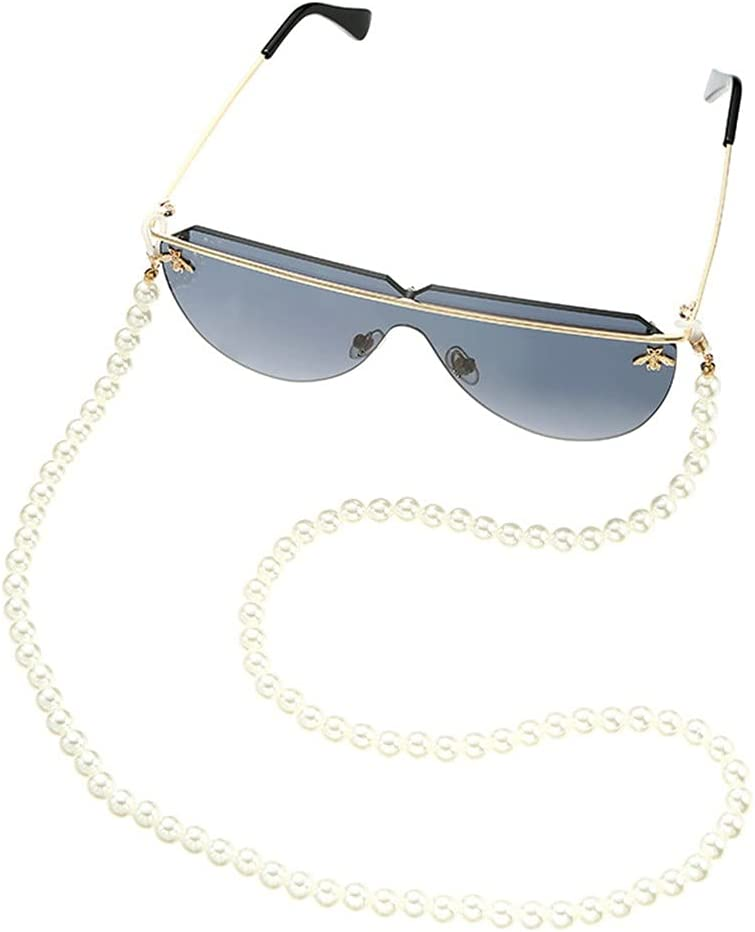 GYZX Glasses Chain Straps Simulation Pearl Women Simple Bead Chain for Glasses Sunglasses Cords Accessories (Color : A, Size : Length-70CM)