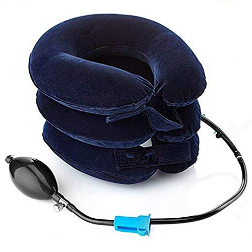 Cojín hinchable de tracción para el cuello, suave, ajustable, para aliviar el dolor crónico de cuello