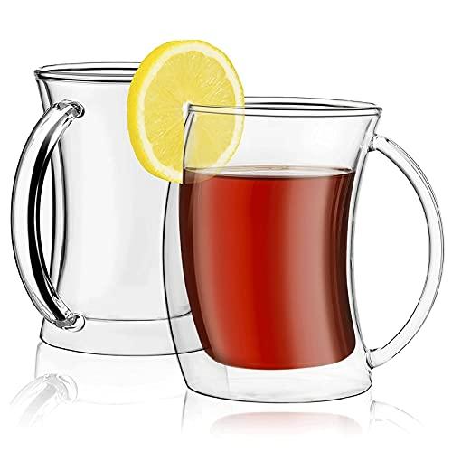 WANGLX Tazas de Café de Vidrio Tazas con Aislamiento de Doble Pared Juego de 2 Vasos Tazas de Vasos con Aislamiento de Doble Pared