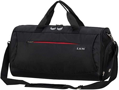 marcello Sporttasche Reisetasche mit Schuhfach & Nassfach Wasserdicht Fitnesstasche Trainingstasche Gym Sport Tasche Handgepäck für Männer und Frauen (Black, Medium)