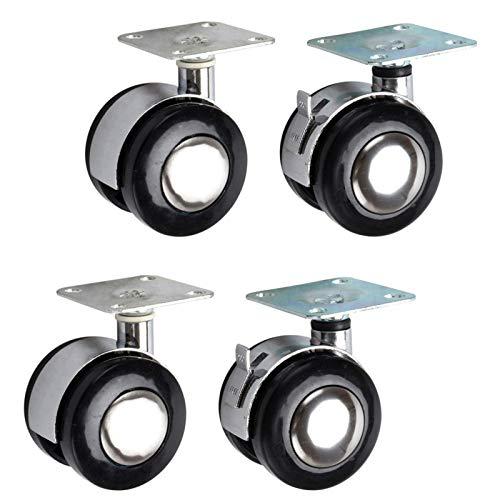 Rueda giratoria plana negra, ruedas de aleación, ruedas de muebles, fácil de girar y deslizar silenciosamente, para escritorio, archivador, muebles de hogar, 4 paquetes (2 con freno)