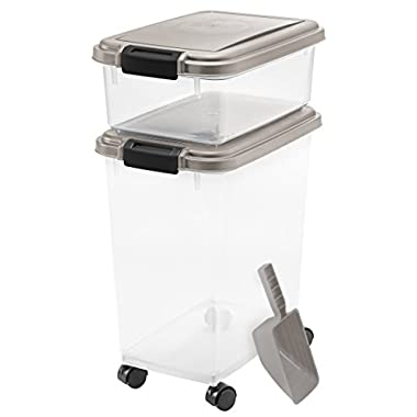 3- Piece Airtight Pet Food Storage Container Combo, Chrome