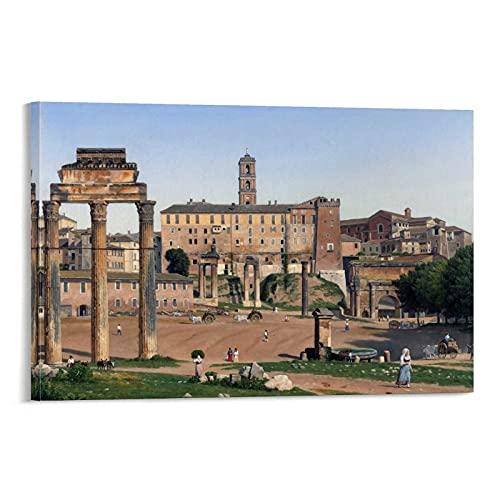 JYTFGDRYJ Christoffer Wilhelm Eckersberg - Widok na Forum w Rzymie płótno sztuka plakat i sztuka ścienna obraz druk nowoczesna rodzina sypialnia dekoracje plakaty 16 x 24 cale (40 x 60 cm)